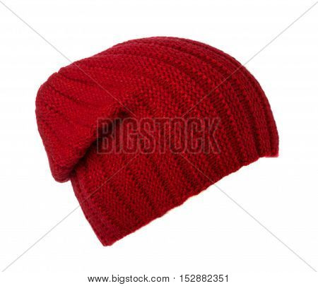 Knitted Hat Isolated On White Background .red Hat