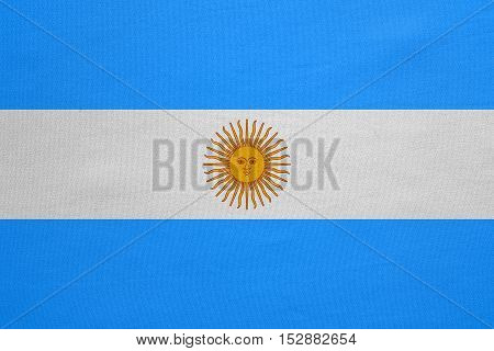 Argentinian national official flag. Argentine Republic patriotic symbol banner element background. Flag of Argentina with real detailed fabric texture accurate size illustration