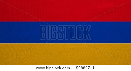 Armenian national official flag. Patriotic symbol banner element background. Correct colors. Flag of Armenia with real detailed fabric texture accurate size illustration