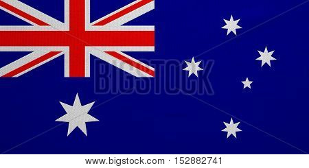 Australian national official flag. Patriotic symbol banner element background. Correct colors. Flag of Australia with real detailed fabric texture accurate size illustration