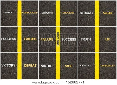 Photo collage of antonym concepts written over tarmac road marking yellow paint separating line between words
