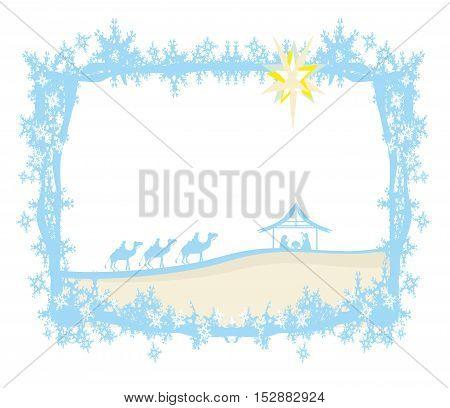 birth of Jesus in Bethlehem - abstract frame , vector illustration