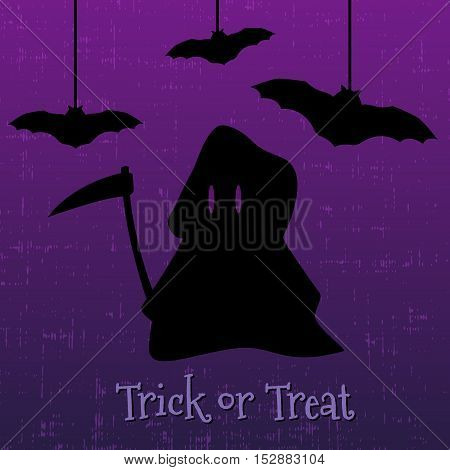 Trick or treat halloween greeting card with Grim Reaper and bats. Vector illustration.