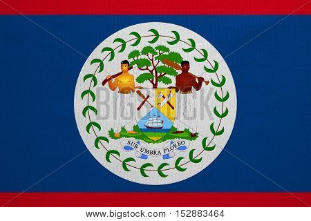 Belizean national official flag. Patriotic symbol banner element background. Correct colors. Flag of Belize with real detailed fabric texture accurate size illustration