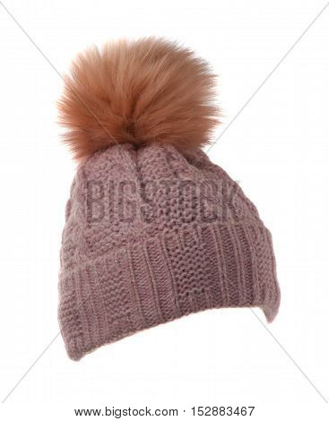 Women's Knitted Hat Isolated On White Background.hat With Pompon
