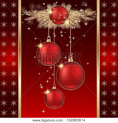 Christmas and New Year red vector background with luxury balls, twigs and stars