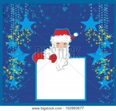 funny Santa Claus holding a frame place for text , vector illustration