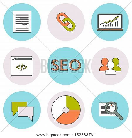 SEO line icons set. Search engine optimization web elements. Round icons.