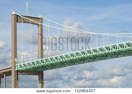 Suspension bridge construction background, landmark in city