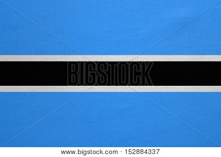 Botswanan national official flag. African patriotic symbol banner element background. Correct colors. Flag of Botswana with real detailed fabric texture accurate size illustration