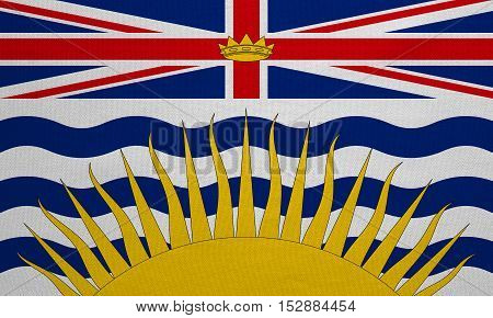 Canadian provincial BC patriotic element and official symbol. Canada banner and background. Flag of the Canadian province of British Columbia real detailed fabric texture accurate size illustration
