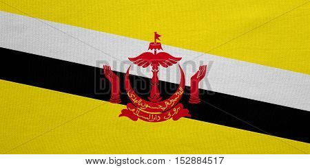 Bruneian national official flag. Patriotic symbol banner element background. Correct colors. Flag of Brunei with real detailed fabric texture accurate size illustration