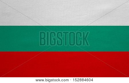 Bulgarian national official flag. Patriotic symbol banner element background. Correct colors. Flag of Bulgaria with real detailed fabric texture accurate size illustration
