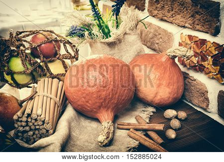 still life with pumpkin apples and nuts agriculture toning selective focus