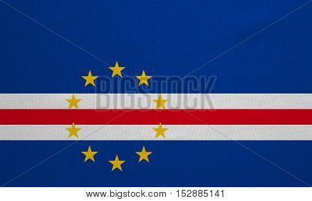 Cape Verdean national official flag. African patriotic symbol banner element background. Correct colors. Flag of Cape Verde with real detailed fabric texture accurate size illustration