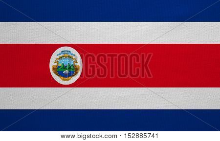 Costa Rican national official flag. Patriotic symbol banner element background. Correct colors. Flag of Costa Rica with real detailed fabric texture accurate size illustration