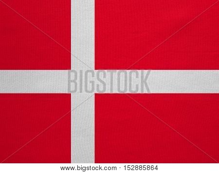 Danish national official flag. Patriotic symbol banner element background. Correct colors. Flag of Denmark with real detailed fabric texture accurate size illustration