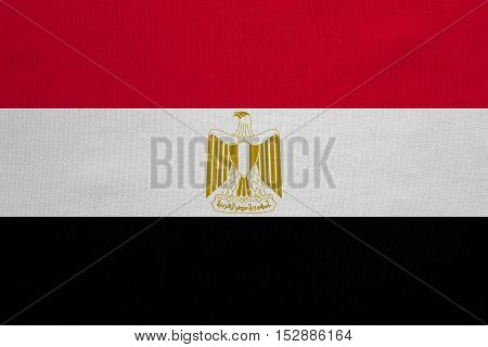 Egyptian national official flag. Arab Republic of Egypt patriotic symbol banner element background. Correct colors. Flag of Egypt with real detailed fabric texture accurate size illustration