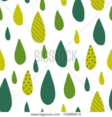 Seamless pattern with green drops. Vector stylized background.