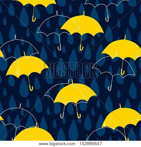 Seamless pattern with raindrops and umbrellas. Vector autumn background.