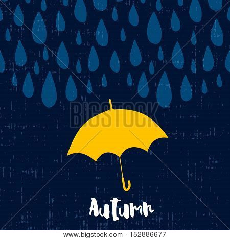 Autumn card with raindrops and umbrella. Vector background.