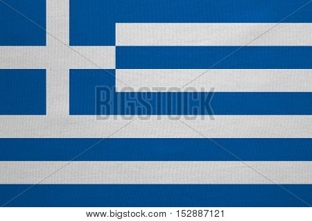Greek national official flag. Patriotic symbol banner element background. Correct colors. Flag of Greece with real detailed fabric texture accurate size illustration