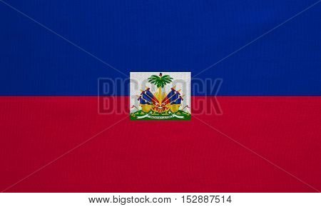 Haitian national official flag. Patriotic symbol banner element background. Correct colors. Flag of Haiti with real detailed fabric texture accurate size illustration
