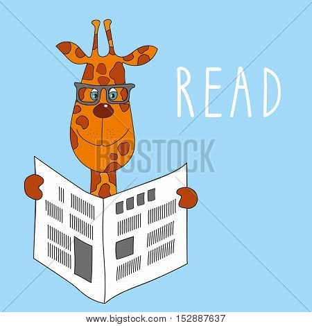 illustration of giraffe with glasses reading a newspaper