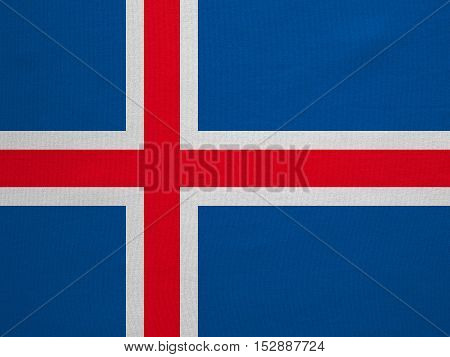 Icelandic national official flag. Patriotic symbol banner element background. Correct colors. Flag of Iceland with real detailed fabric texture accurate size illustration