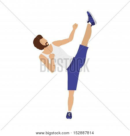 silhouette color man martial arts high kick vector illustration