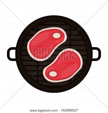 food grilled with big meat vector illustration