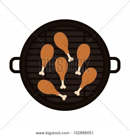 food grilled with chicken thighs vector illustration
