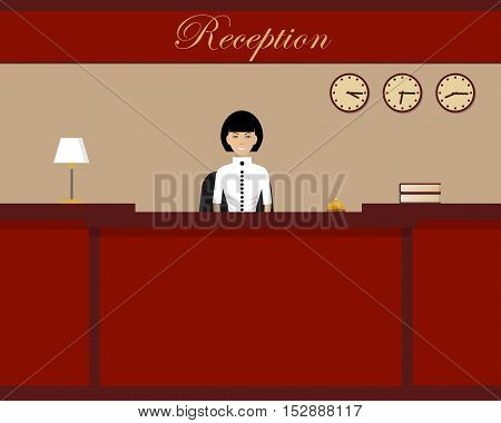 Hotel reception. Young woman receptionist stands at reception desk. Travel, hospitality, hotel booking concept. Vector illustration