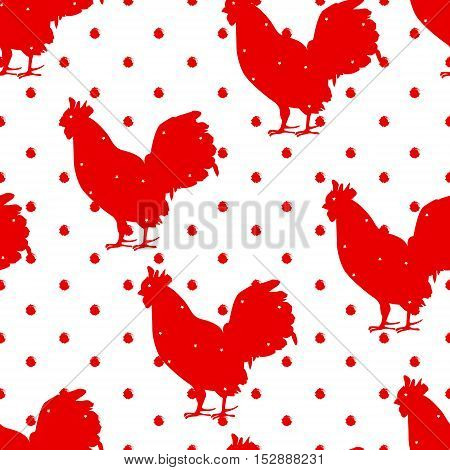 Seamless polka dot pattern with red silhouette rooster. New year. Vector background.