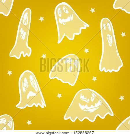 Seamless pattern with scary ghost and stars. Vector background.