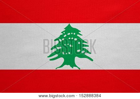 Lebanese national official flag. Patriotic symbol banner element background. Correct colors. Flag of Lebanon with real detailed fabric texture accurate size illustration