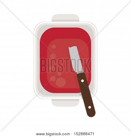food plate with jam and knife vector illustration