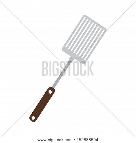 silhouette color frying spatula with wooden handle vector illustration