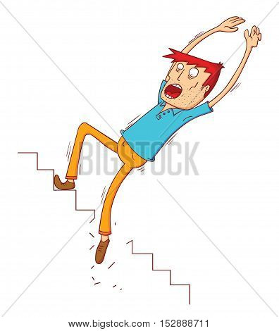 a man falling on the broken stair