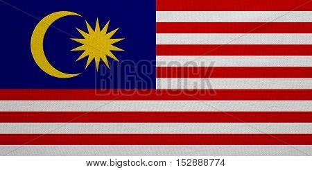 Malaysian national official flag. Patriotic symbol banner element background. Correct colors. Flag of Malaysia with real detailed fabric texture accurate size illustration