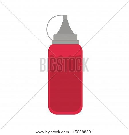 silhouette color with bottle ketchup vector illustration