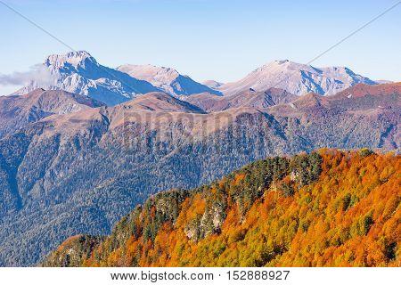Fisht Oshten Pshecho Sou mountains at autumn day time. Caucasus. Russia.