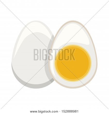 silhouette color boiled egg and half boiled egg vector illustration