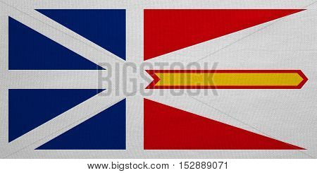 Canadian provincial NL patriotic element and official symbol. Canada banner and background. Flag of the Canadian province of Newfoundland and Labrador fabric texture accurate size color illustration