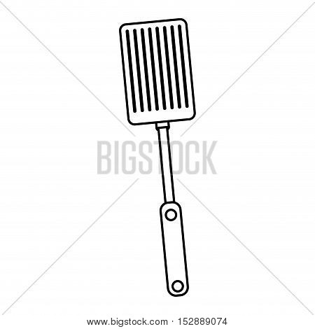 silhouette black with frying spatula vector illustration