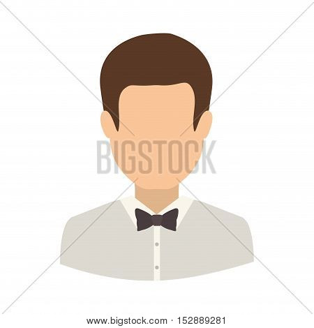 avatar male man wearing suit and bow tie over white background. vector illustration