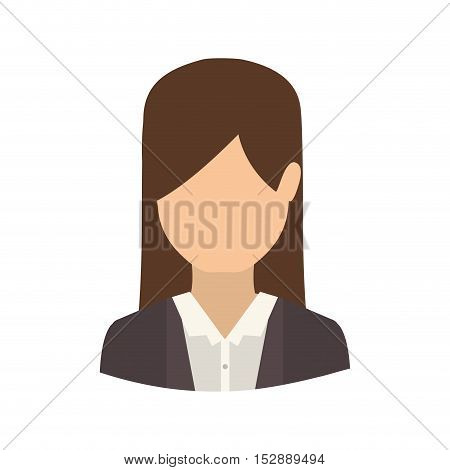 avatar female woman wearing executive clothes over white background. front view. vector illustration