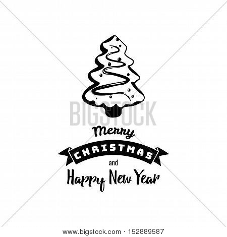 Gingerbread X-Mas Tree. Merry Christmas and a Happy New Year. Greeting Card. Vector Illustration