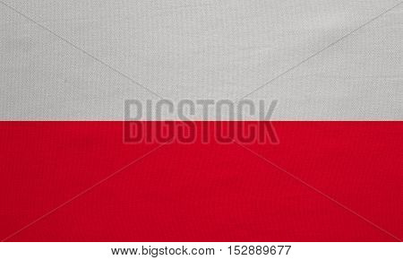 Polish national official flag. Patriotic symbol banner element background. Correct colors. Flag of Poland with real detailed fabric texture accurate size illustration