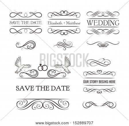 Wedding ornaments decorative elements, vintage ribbon frame, badge. Vector love element. Wedding invitation. Ornate frame elements. Vintage filigree decoration.